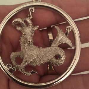 Vintage Zodiac sign for Capricorn  w necklace